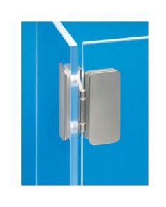Glasdeurscharnier - INLIGGEND - zink-aluminium legering met vernikkelde afwerking - Glasdikte tussen 5 en 8 mm - Openingshoek 180° - Voor geheel glazen contstructies - 3D verstelbaar