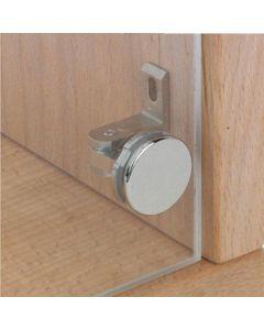 Glasdeurscharnier Claronda - INLIGGEND - voor glasdikte 4 of 6 mm - messing verchroomd gepolijst - openingshoek 105° - met glasboring
