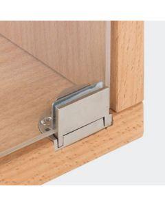 Glasdeurscharnier Glarior - INLIGGEND - zink-aluminium legering met mat vernikkelde afwerking - Glasdikte max 6 mm - Openingshoek 95° - zonder glasboring