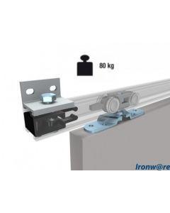 Compleet ophangsysteem schuifdeur max 80 Kg - Wand- of plafondmontage van rails - Rail lengte max 600 cm