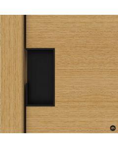 Schuifdeurgreep rechthoekig - dikte 40 mm zwart gelakt voor schuifdeuren IN de wand