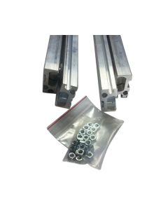 Voorbeeld set - zelfbouw ladegeleider - deels uittrekbaar - inbouwlengte 500 t/m 3000 mm - max 200 Kg per per lade - Aluminium - Ook kantelsysteem mee te maken