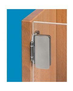 Glasdeurscharnier - INLIGGEND - Vernikkelde zink-aluminium legering - Deurgewicht max 24 Kg - Glasdikte tussen 5 en 8 mm - Openingshoek 180° - Hangnaad 3 mm