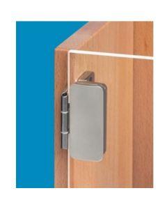 Sierfoto Glasdeurscharnier - opliggend - vernikkelde zink-aluminium legering - deurgewicht max 24 Kg - glasdikte tussen 5 en 8 mm - openingshoek 230° - opleg 3 of 6 mm