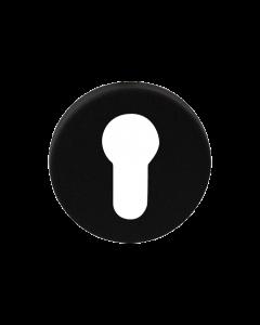Cilinderrozet rond - zwart RVS - 50mm diameter
