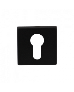 Cilinderrozet vierkant - zwart RVS - 50x50x8 mm