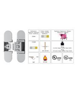 Verdekt deurscharnier | Chroom satijn | Max 70 Kg | Kubica K6700 F1