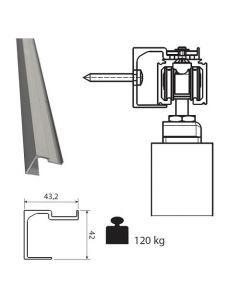 Aluminium wandmontageprofiel voor rail 0500 120kg