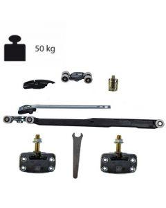 Ophangset systeem 1050 - met enkele demping in één richting - deur >59,9 cm - deurgewicht max 50kg