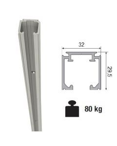 Aluminium bovenrail voor systeem 0400 & 0450 -  max 80 Kg/meter