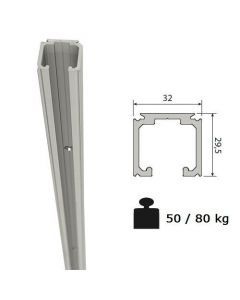 Aluminium bovenrail systemen 0500 - 0550 - 0560 - 0600 -1700 - 1040 - max 80 Kg/meter