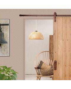 Voorbeeldset Lanka schuifdeursysteem - roest bruin staal - rails 200 cm - voor een deur van 100 cm breed