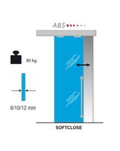 Softclose schuifdeursysteem glas - deur max 80 kg - rail lengte max 600cm