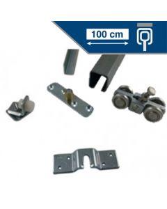 Compleet RVS ophangsysteem schuifdeur max 100 cm PLAFONDmontage rail