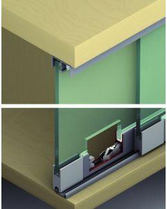 Voorbeeld set 2 panelen max 125 cm - kastbreedte 250 cm - vitrinekast schuifdeursysteem max 25 Kg per paneel