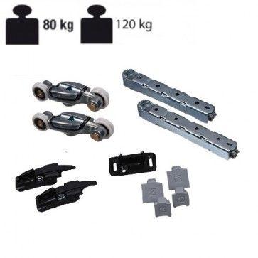 Ophangset 3 - 5 mm kier tussen bovenzijde schuifdeur en onderkant schuifdeur rail - max 120 kg/paneel - Met 80 of 120 Kg rail te combineren
