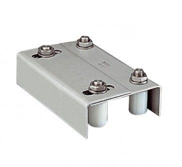 Schuifpoortgeleider RVS voorzien van vier rollen