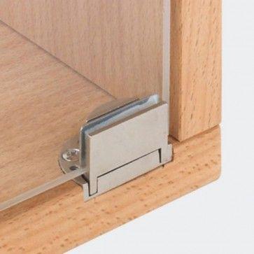 Glasdeurscharnier Glarior - INLIGGEND - zink-aluminium legering met verchroomd gepolijste afwerking - Glasdikte max 6 mm - Openingshoek 95° - zonder glasboring