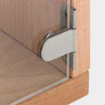 Glasdeurscharnier - INLIGGEND - messing met mat vernikkelde afwerking - Max deurgewicht 30 Kg per paar - Glasdikte max 6 mm - Openingshoek 180° - Met zichtbare knoop