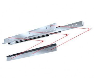 Ladegeleider (optionele hoeklijn: 6111/HL) - inbouwlengte 400 t/m 550 mm - volledig uittrekbaar - max 45 Kg - staal verzinkt