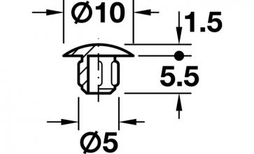 Afdekkap Diameter 10 mm, diepte 5,5 mm