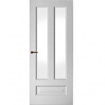 Klassieke binnendeur met glas - wit met drie vlakken - ojiefprofiel - max 1200 x 2700 mm