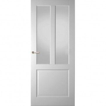 Landelijke binnendeur met glas - wit met drie vlakken - facetprofiel - max 1200 x 2700 mm