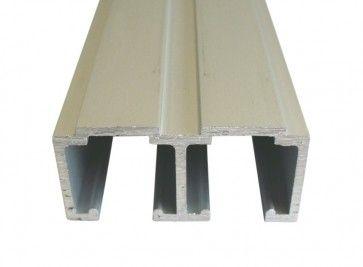 Aluminium dubbele schuifdeurrail 200 cm - max 80 Kg/meter - H 29,5 mm x B 68 mm