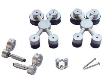 Exterus kit loopwagens X-roller voor glazen panelen