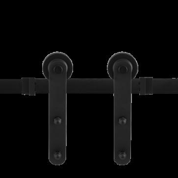 Voorbeeldset Varsi schuifdeursysteem - zwart staal verzinkt - rails 200 cm - voor een deur van 100 cm breed