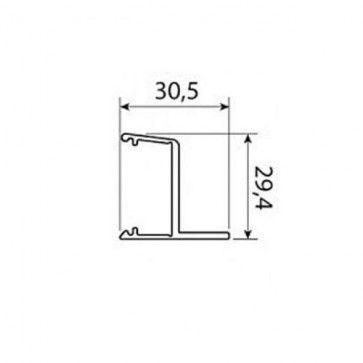 Plafond profiellijst aluminium voor rail 0500 - lengte 200cm