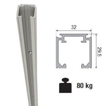 Aluminium schuifdeurrail 400 cm - max 80 Kg/meter