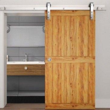 Voorbeeldset Lanka schuifdeursysteem - RVS - rails 200 cm - voor een deur van 100 cm breed