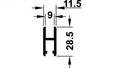 Glasdeurprofiel / loopschoenrail -lengte 200 cm