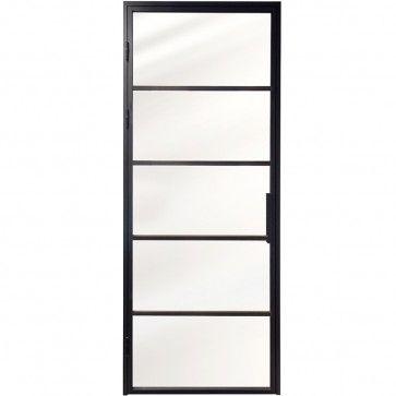 Piave Industriele stalen paneeldeur met glas - zwart - met vijf glazen - haaksprofiel -  max 2315 tot 2565 mm