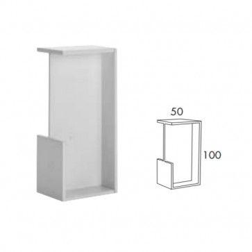 Rechthoekige inbouw schuifdeurgreep -  Wit Mat -  Lengte 101 x Breedte 50 x Deurdikte 38 mm PEH36 404WM40
