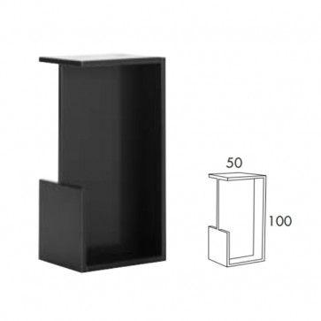 Rechthoekige inbouw schuifdeurgreep -  Zwart Mat -  Lengte 101 x Breedte 50 x Deurdikte 40 mm PEH36 404ZM40