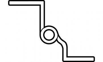 Scharnier messing gepolijst 50mm (met sierkop) Bocht, Aanslag: links