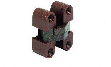 Inboor scharnier bruin geel gechromateerd 11x33mm Om te schroeven, voor houtdikte vanaf 16mm