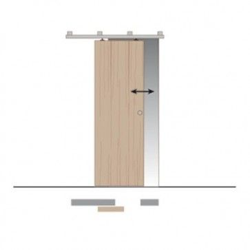 Compleet ophangsysteem schuifdeur max 175 Kg - Wand- of plafondmontage van rails - Rail lengte max 600 cm