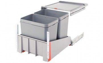 Afvalemmer uittrekbaar 2 x 18L Voor kastbreedte 450 mm - zelfsluitend en gedempt