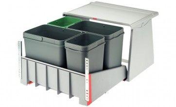 Afvalemmer uittrekbaar 2 x 18L & 2x 8L Voor kastbreedte 600 mm - zelfsluitend en gedempt