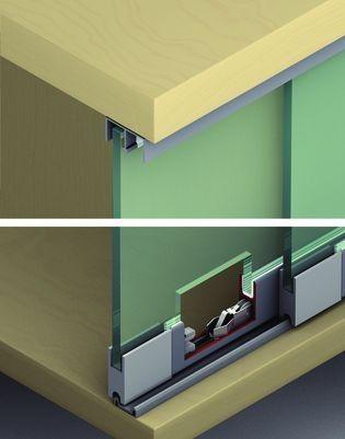 Vitrinekast Glas Hangend.415 Vitrinekast Schuifdeursysteem Max 25 Kg Per Paneel