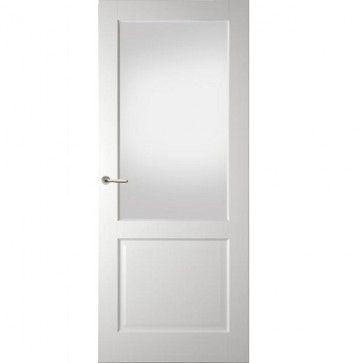 Landelijke binnendeur met blank glas - wit - facetprofiel - max 1200 x 2400 mm