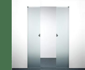 X5D schuifdeursysteem 211 x 103 cm XINNIX Glas dubbele deur - Profiel 50 mm - wanddikte 100 mm