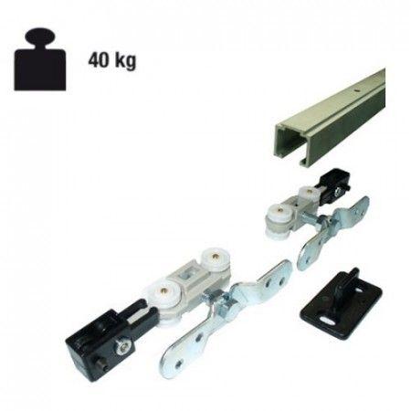 Complete schuifdeur ophangset 40 Kg - deur max 80 cm - rails 160 cm lang
