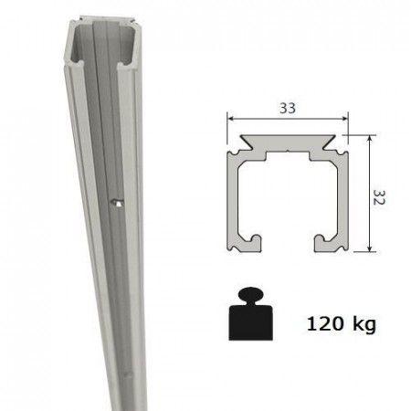 Aluminium schuifdeurrail 200 cm - max 120 Kg/meter -  H32 x B33 mm