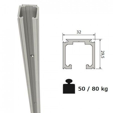 Aluminium schuifdeurrail 300 cm - max 80 Kg/meter - H29,5 x B32 mm