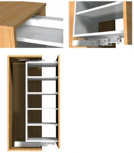 Apothekerskast geleider   max 200 Kg 400mm   demping optioneel verkrijgbaar