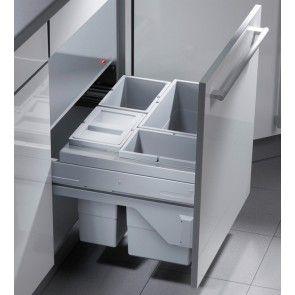 4-vaks afvalemmer, Hailo Cargo Soft, 3610-64, 1 x 24 en 3 x 10 liter